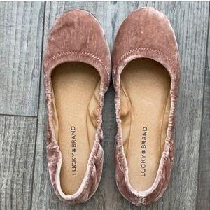 Lucky Brand Emmie Ballet Flats Pink Velvet 8 Rose